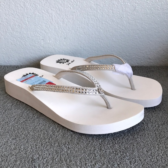 8ee3f1f3dd4a77 Yellow Box Jello White Wedge Sandals